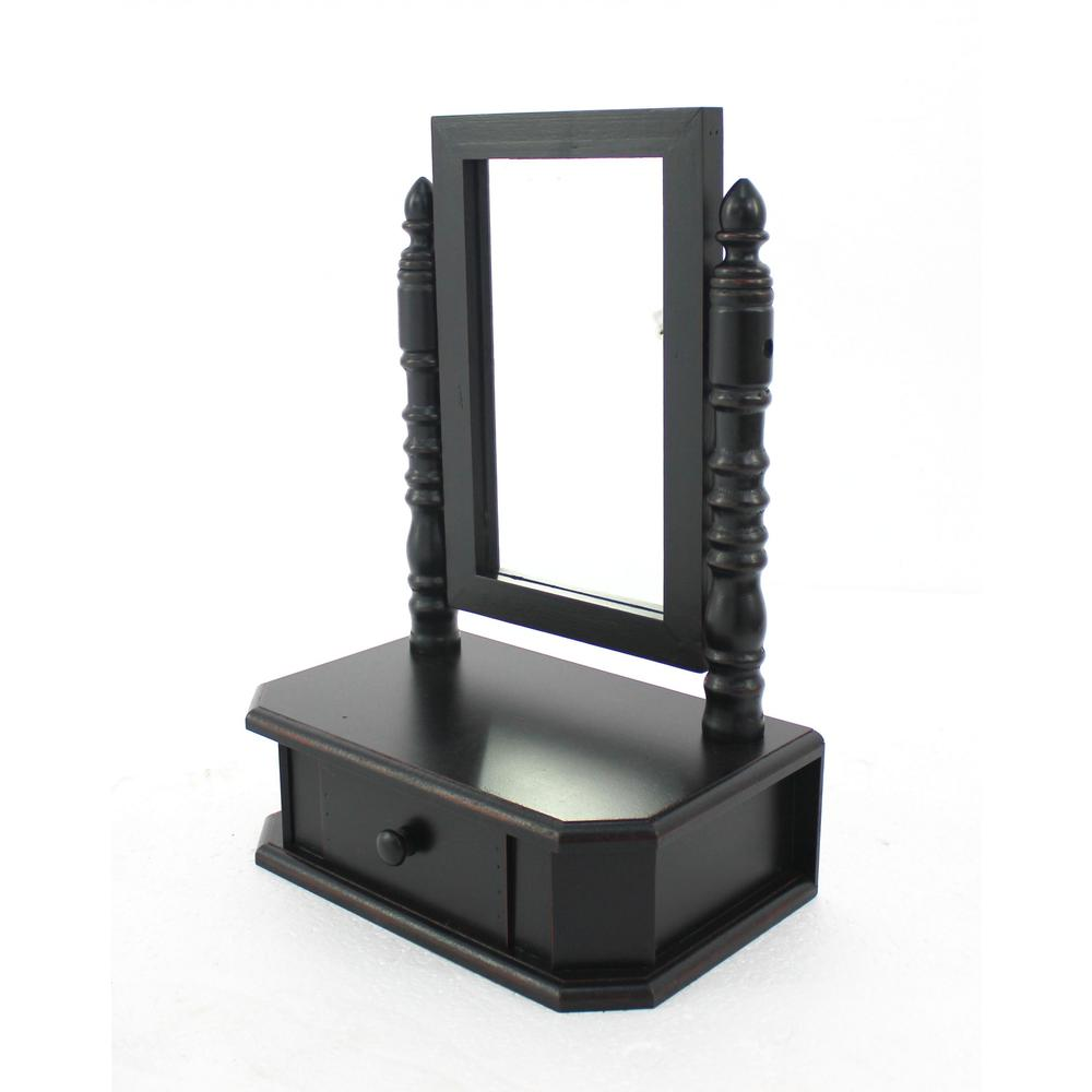 """8.5"""" x 14"""" x 20"""" Black Traditional Drawer  Table Mirror - 274446. Picture 1"""
