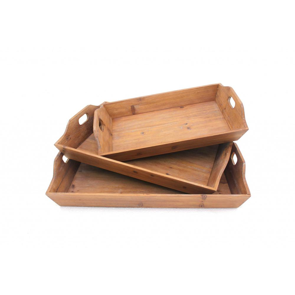 """16.5"""" x 24.25"""" x 3.75"""" Brown, Country Cottage, Wooden - Serving Tray 3pcs - 274448. Picture 1"""