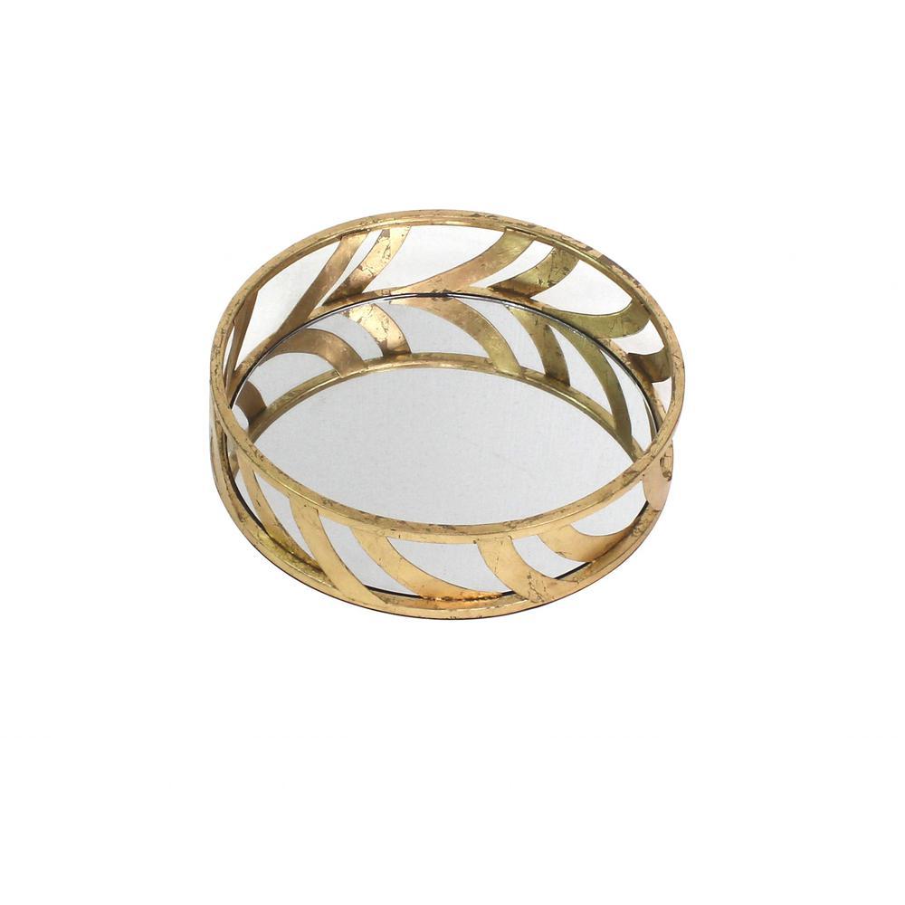 "14"" x 14"" x 4"" Gold Streamline Mirror  Tray - 274456. Picture 1"