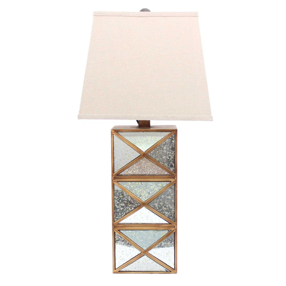 """6.25"""" x 6.75"""" x 27.5"""" Gold, Modern Illusionary, Mirrored Base - Table Lamp - 274466. Picture 1"""