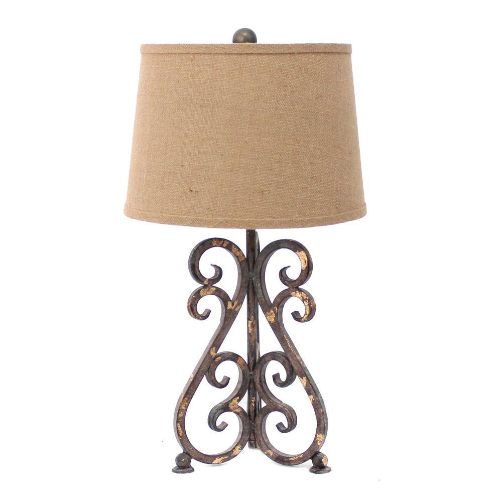 "13"" x 11"" x 23.75"" Bronze, Vintage Metal, Khaki Linen Shade - Table Lamp - 274472. Picture 1"