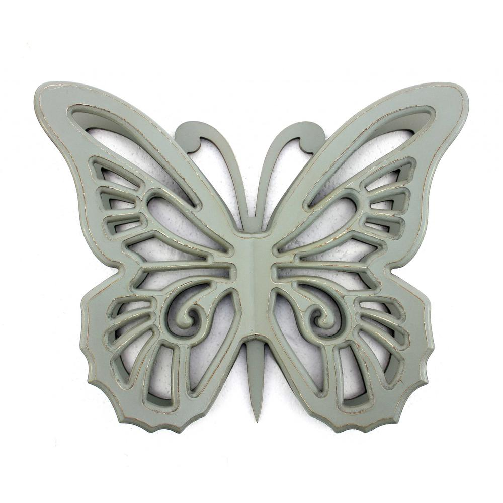 """18.5"""" x 23"""" x 4"""" Gray Rustic Butterfly Wooden  Wall Decor - 274490. Picture 1"""