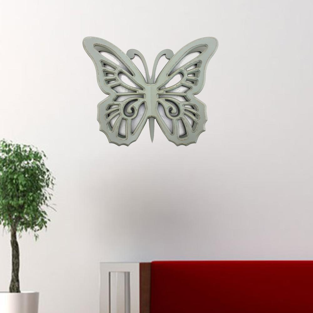 """18.5"""" x 23"""" x 4"""" Gray Rustic Butterfly Wooden  Wall Decor - 274490. Picture 2"""