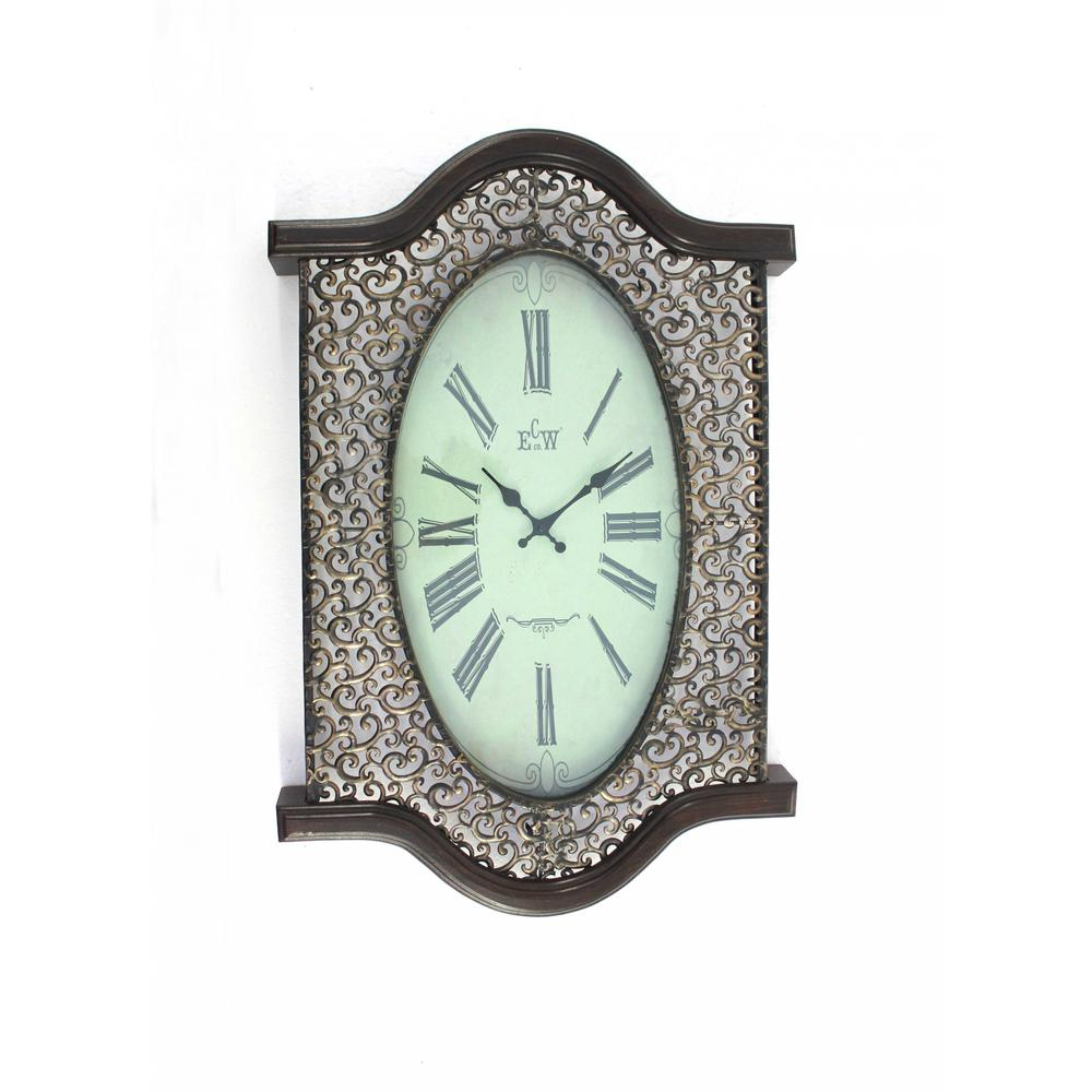 Bronze Finish Wooden Vintage Wall Clock - 274496. Picture 1