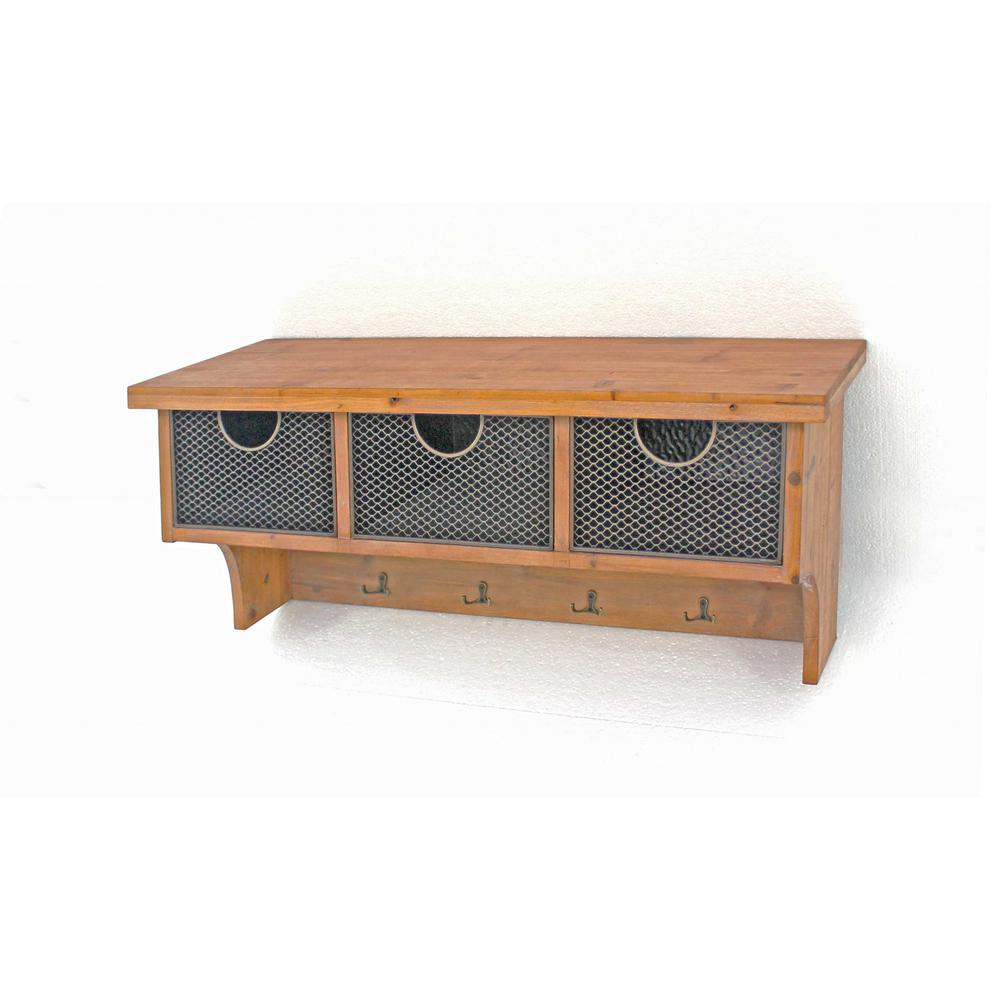 Brown Rustic Wooden Wall Shelf with 3 Drawers and Hooks - 274502. Picture 1