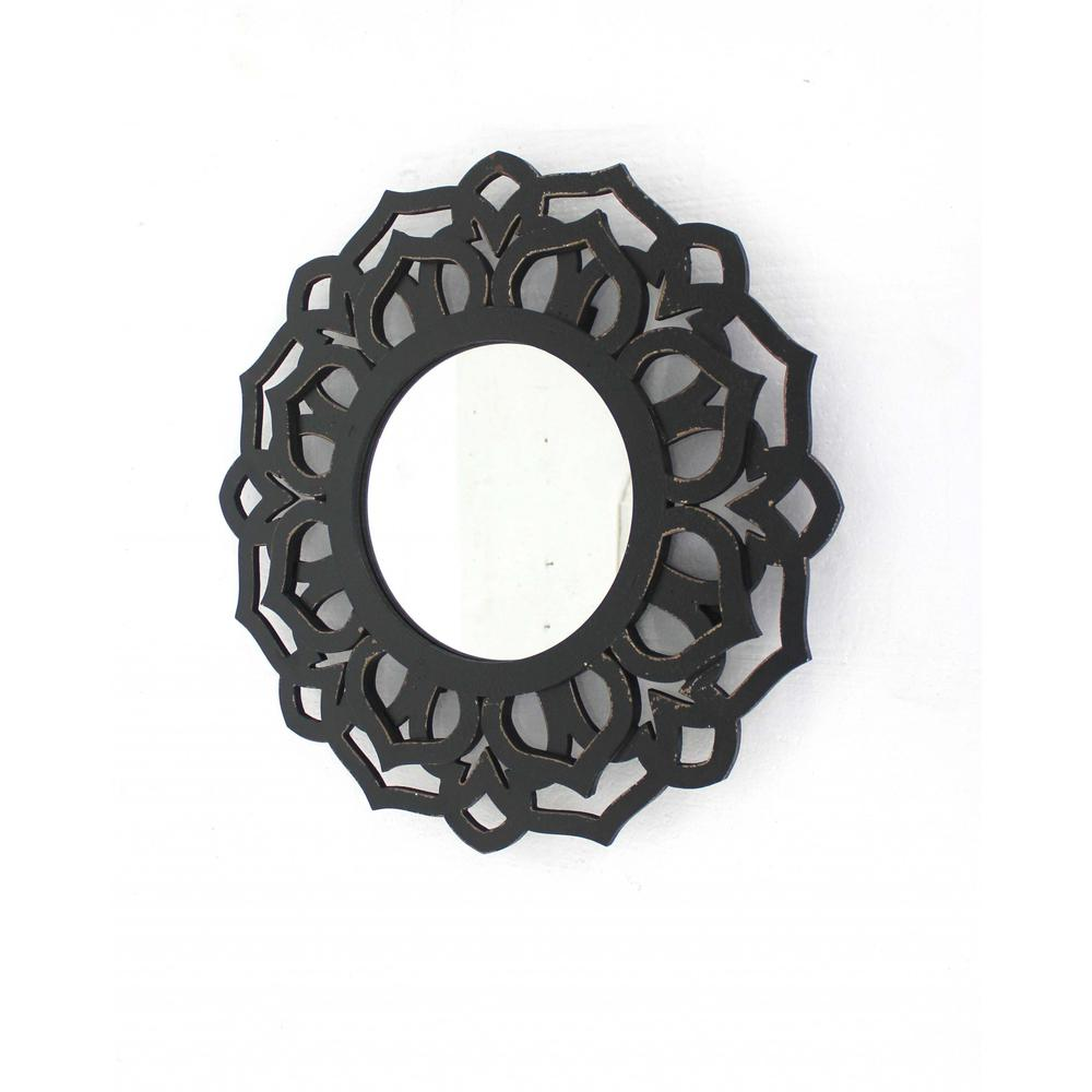 """23.75"""" x 23.75"""" Black, Traditional, Lotus - Wall Mirror - 274564. Picture 1"""