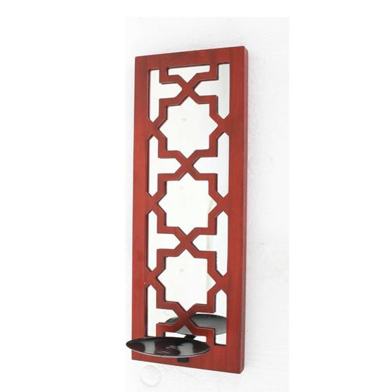 """17"""" x 5"""" x 6"""" Red, Wooden Cross - Candle Holder Sconce - 274565. Picture 1"""