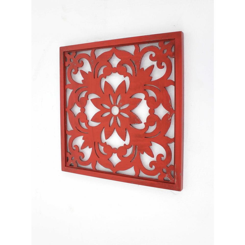 """1"""" x 24"""" x 24"""" Red, Vintage, Floral - Wall Plaque - 274575. Picture 1"""