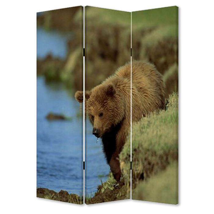 """1"""" x 48"""" x 72"""" Multi Color Wood Canvas Bear  Screen - 274616. Picture 1"""
