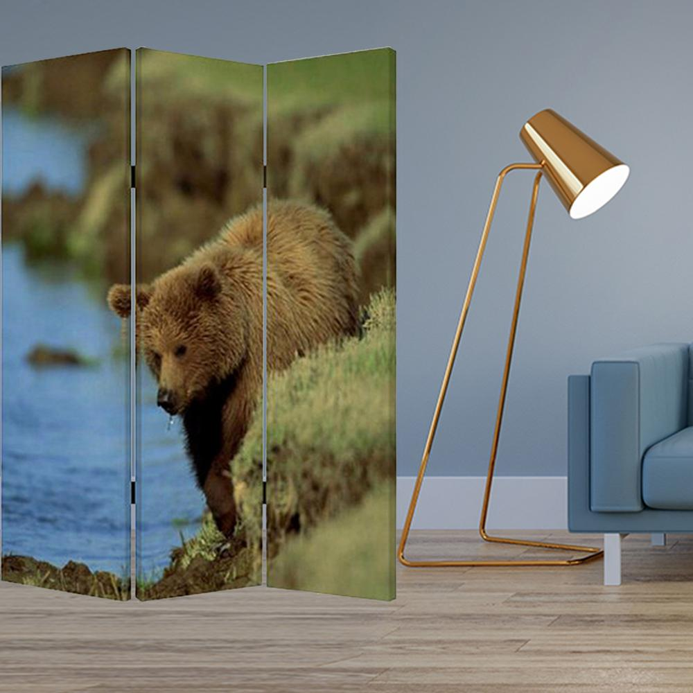 """1"""" x 48"""" x 72"""" Multi Color Wood Canvas Bear  Screen - 274616. Picture 2"""