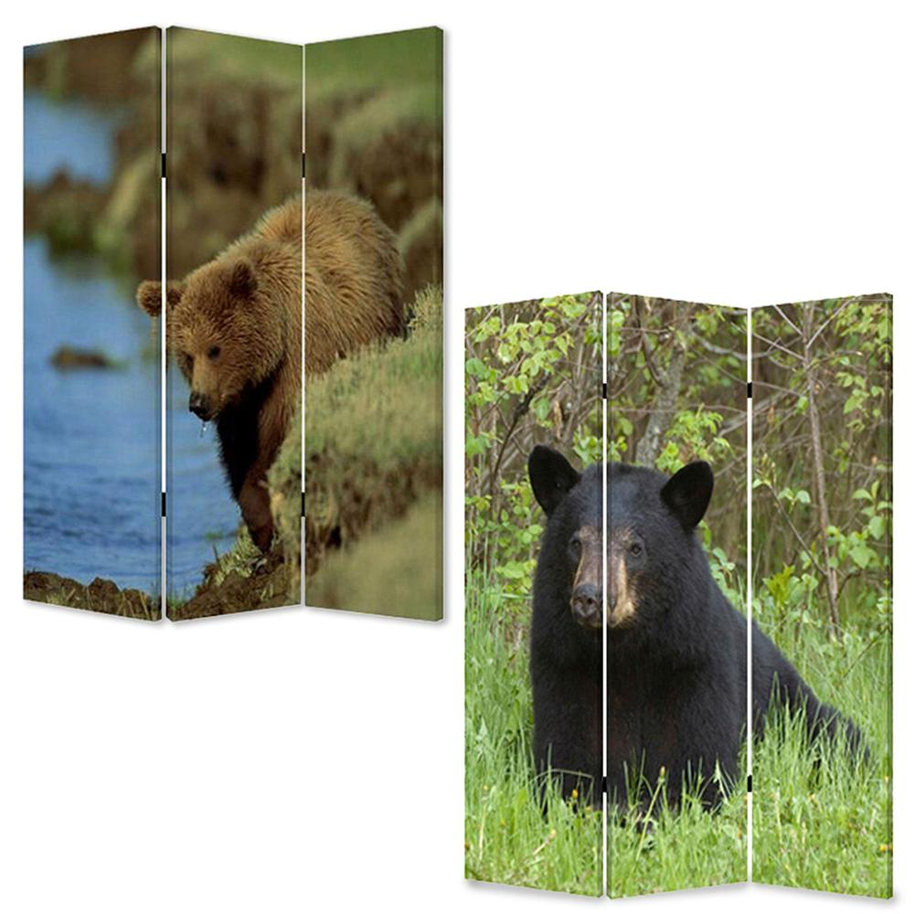 """1"""" x 48"""" x 72"""" Multi Color Wood Canvas Bear  Screen - 274616. Picture 3"""