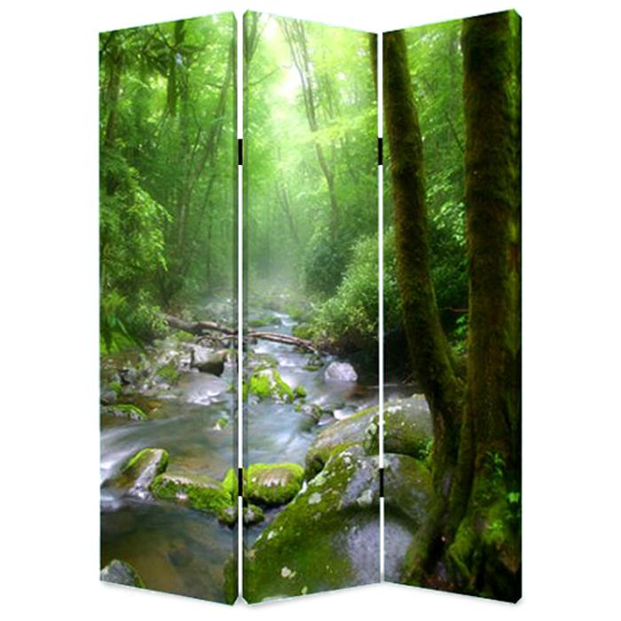 """1"""" x 48"""" x 72"""" Multi Color Wood Canvas Meadows And Streams  Screen - 274623. Picture 1"""