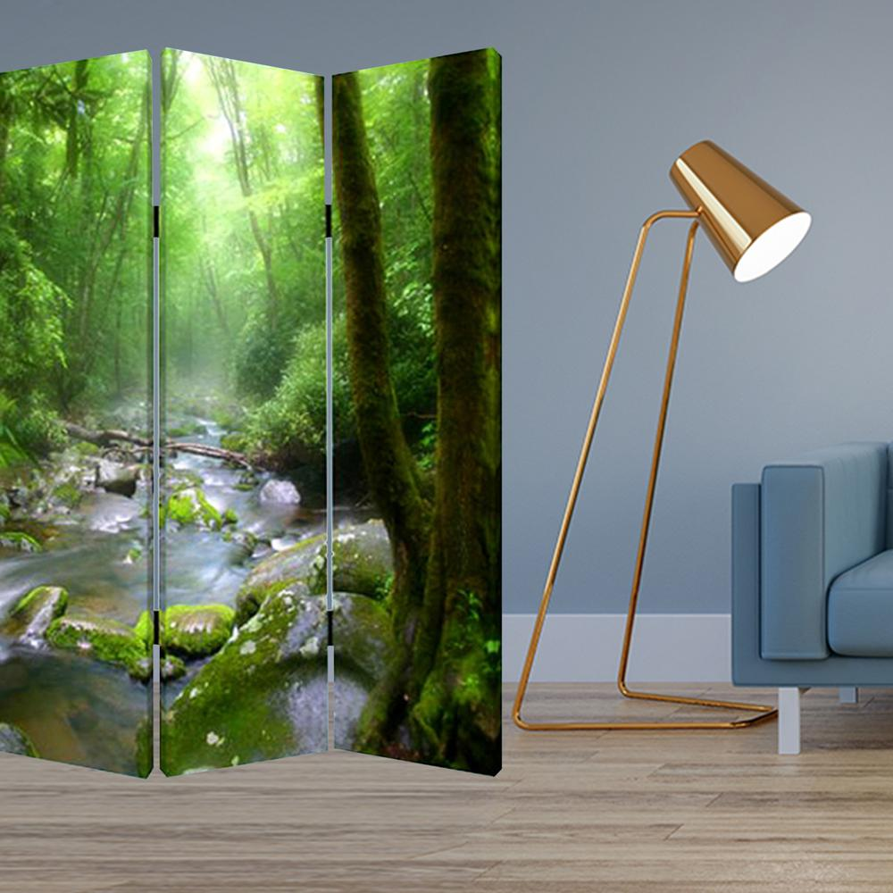 """1"""" x 48"""" x 72"""" Multi Color Wood Canvas Meadows And Streams  Screen - 274623. Picture 2"""
