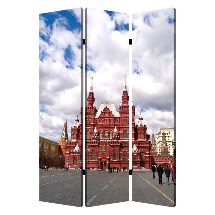 "1"" x 48"" x 72"" Multi Color Wood Canvas Russia  Screen - 274639. Picture 1"