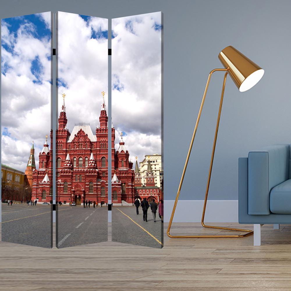 "1"" x 48"" x 72"" Multi Color Wood Canvas Russia  Screen - 274639. Picture 2"