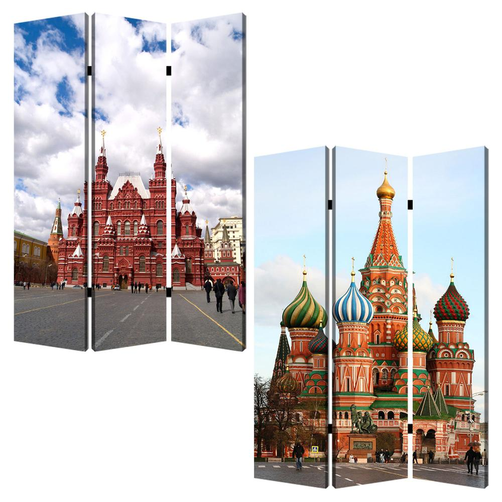 "1"" x 48"" x 72"" Multi Color Wood Canvas Russia  Screen - 274639. Picture 3"
