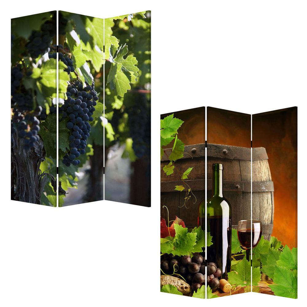 """1"""" x 48"""" x 72"""" Multi Color Wood Canvas Wine Country  Screen - 274640. Picture 3"""
