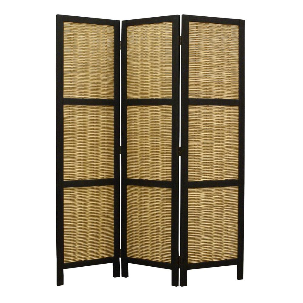 Dark Brown and Natural Willow 3 Panel Room Divider Screen - 274670. Picture 1