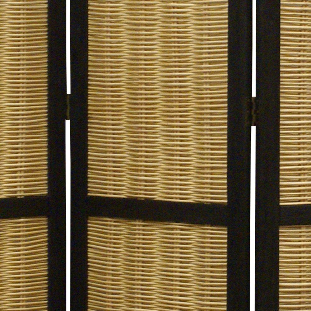 Dark Brown and Natural Willow 3 Panel Room Divider Screen - 274670. Picture 2