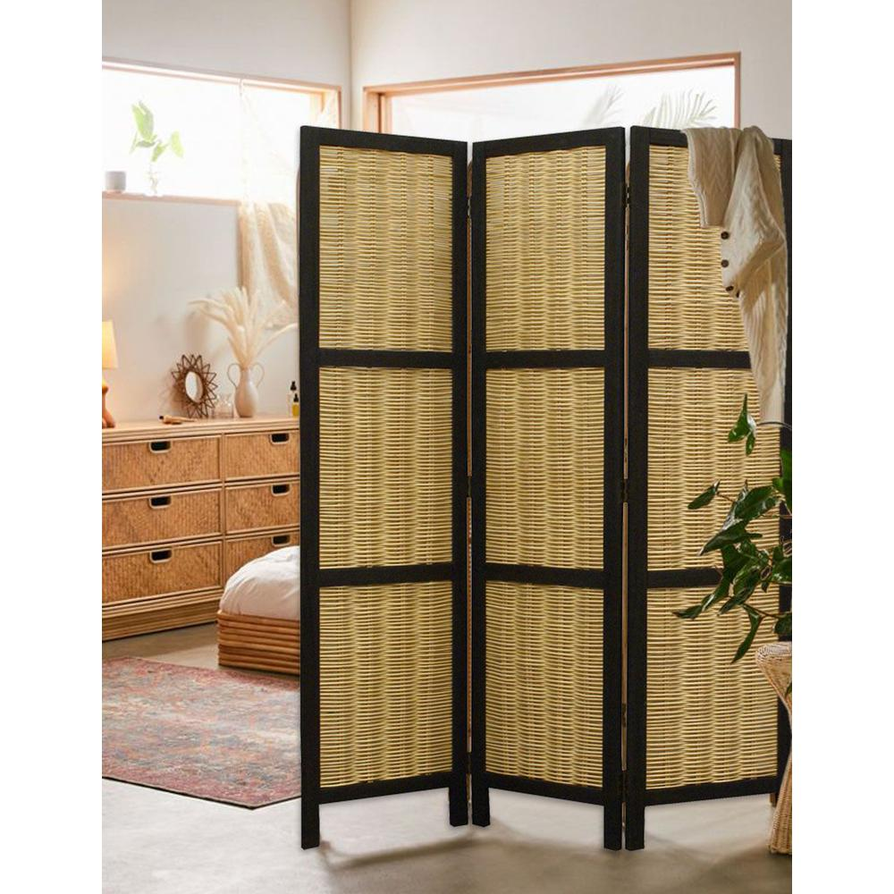 Dark Brown and Natural Willow 3 Panel Room Divider Screen - 274670. Picture 3
