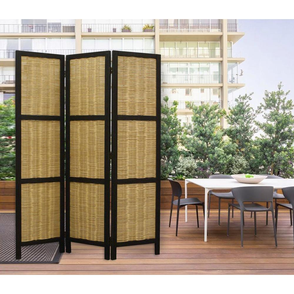 Dark Brown and Natural Willow 3 Panel Room Divider Screen - 274670. Picture 4