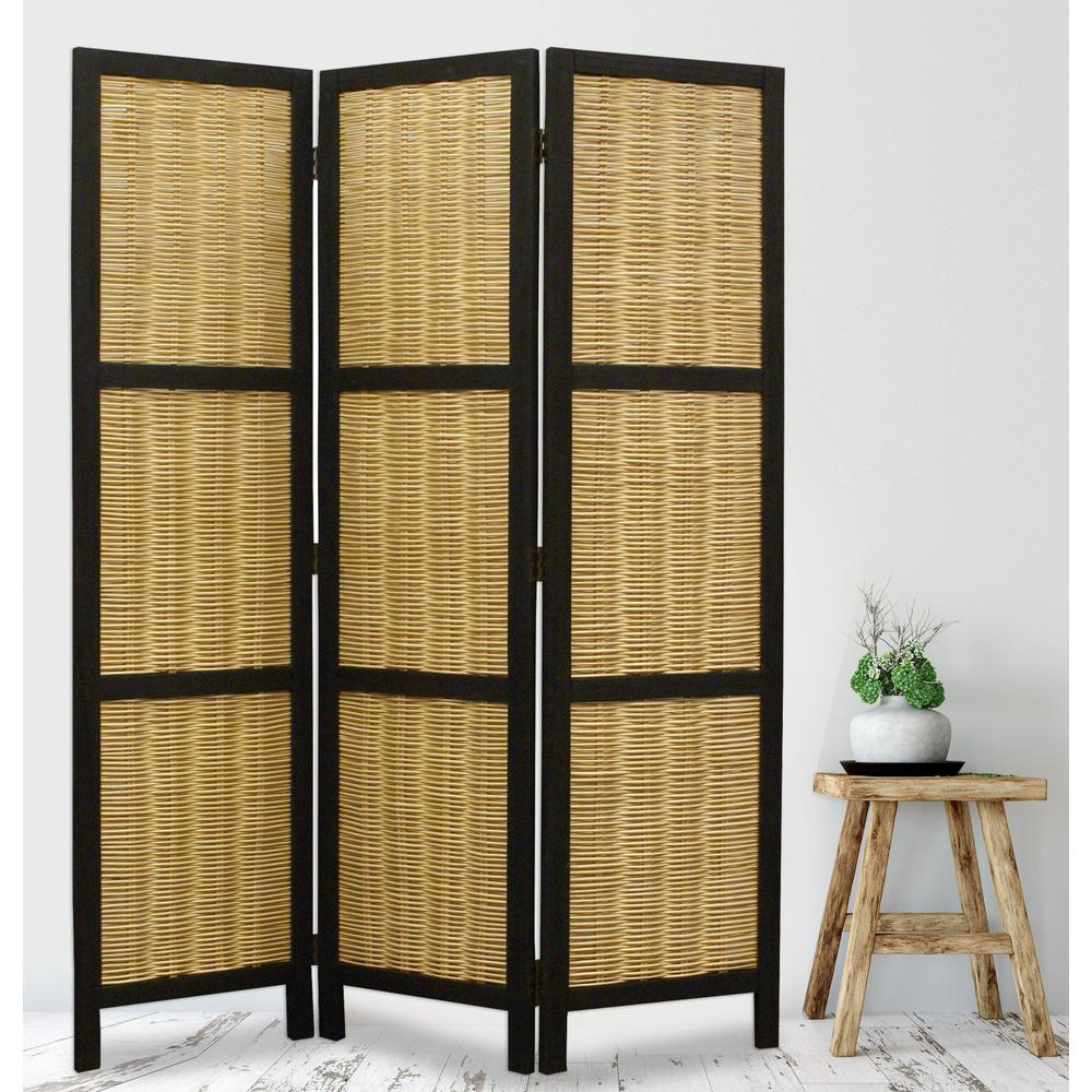 Dark Brown and Natural Willow 3 Panel Room Divider Screen - 274670. Picture 5