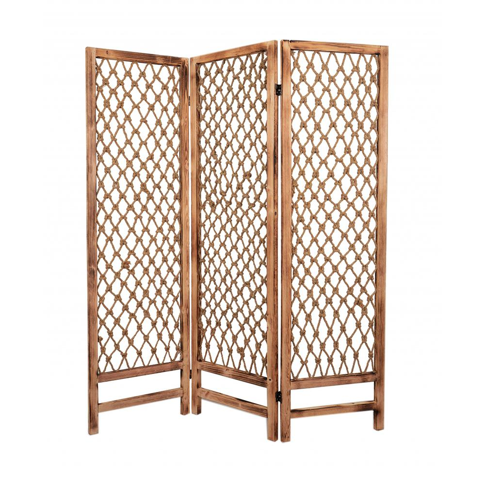 """1"""" x 60"""" x 69"""" Natural Rope Wooden  Screen - 274700. Picture 1"""