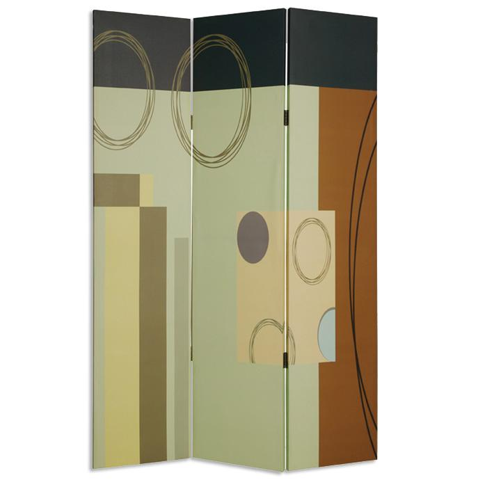 """1"""" x 48"""" x 72"""" Multi Color Wood Canvas 3 Panel Screen - 274753. Picture 1"""