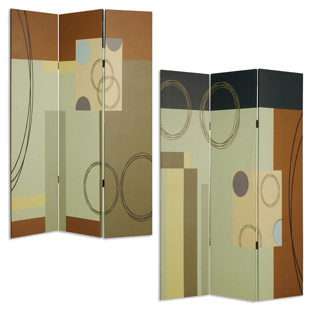 """1"""" x 48"""" x 72"""" Multi Color Wood Canvas 3 Panel Screen - 274753. Picture 3"""