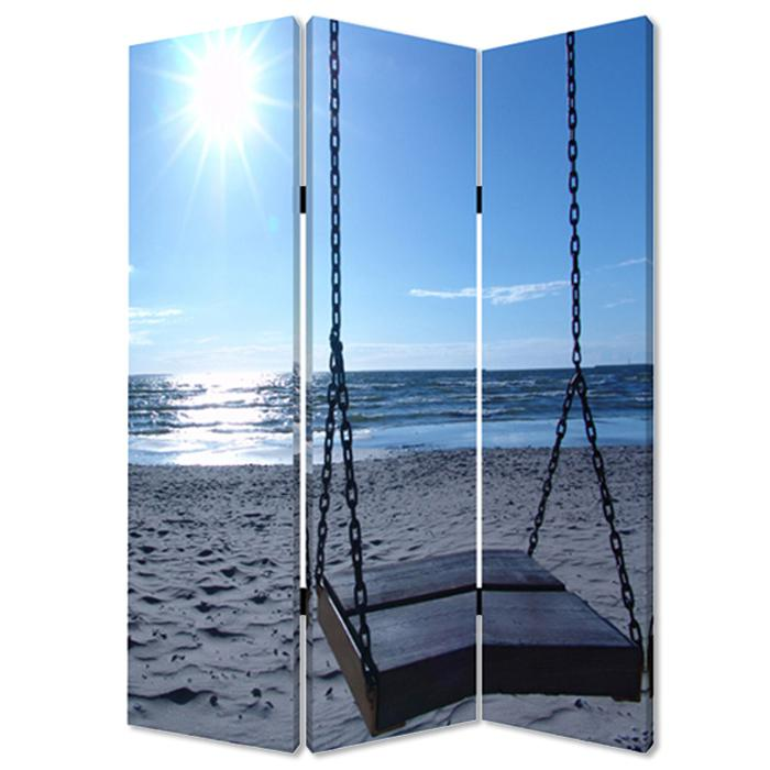 """1"""" x 48"""" x 72"""" Multi Color Wood Canvas Seaside Serenity  Screen - 274756. Picture 1"""