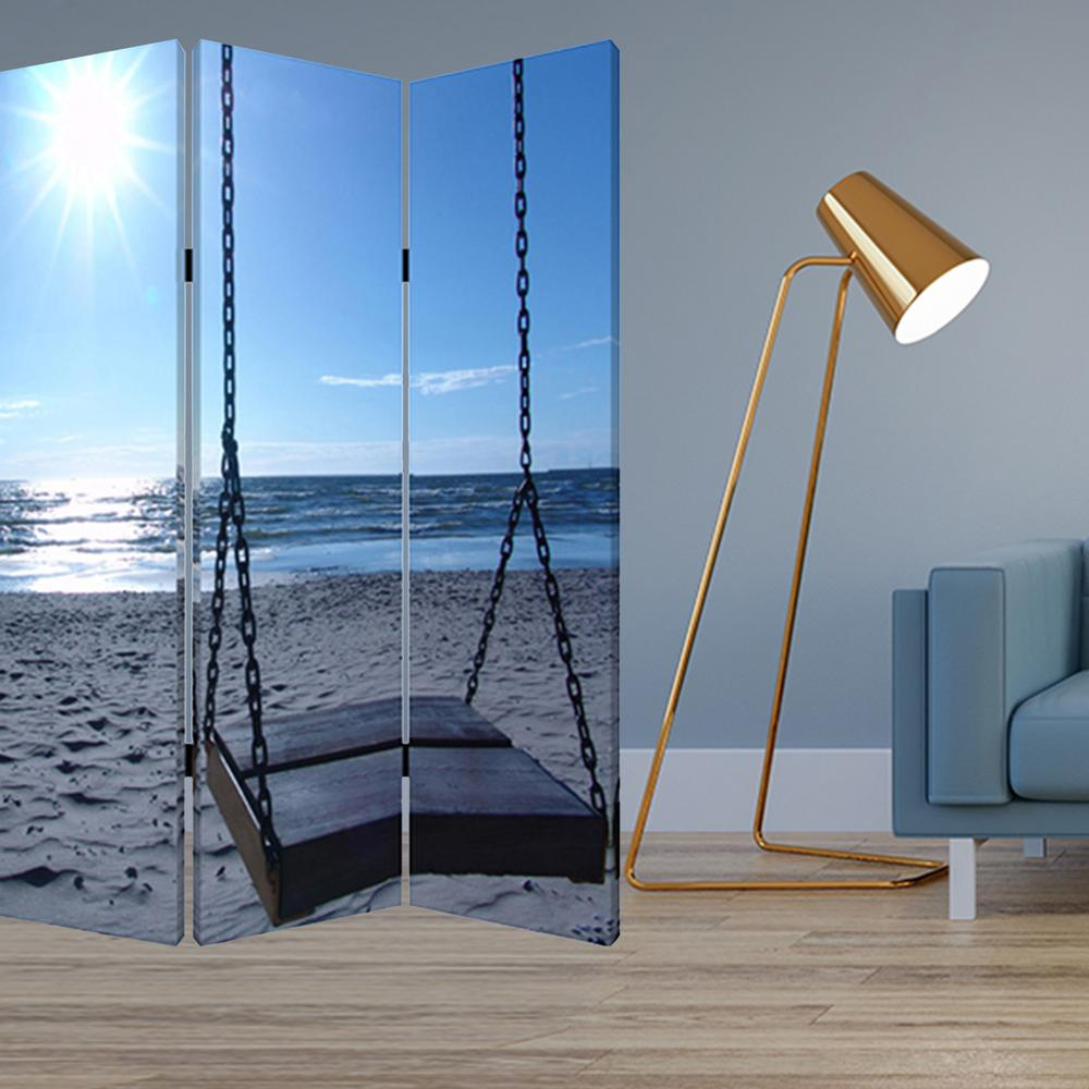 """1"""" x 48"""" x 72"""" Multi Color Wood Canvas Seaside Serenity  Screen - 274756. Picture 2"""