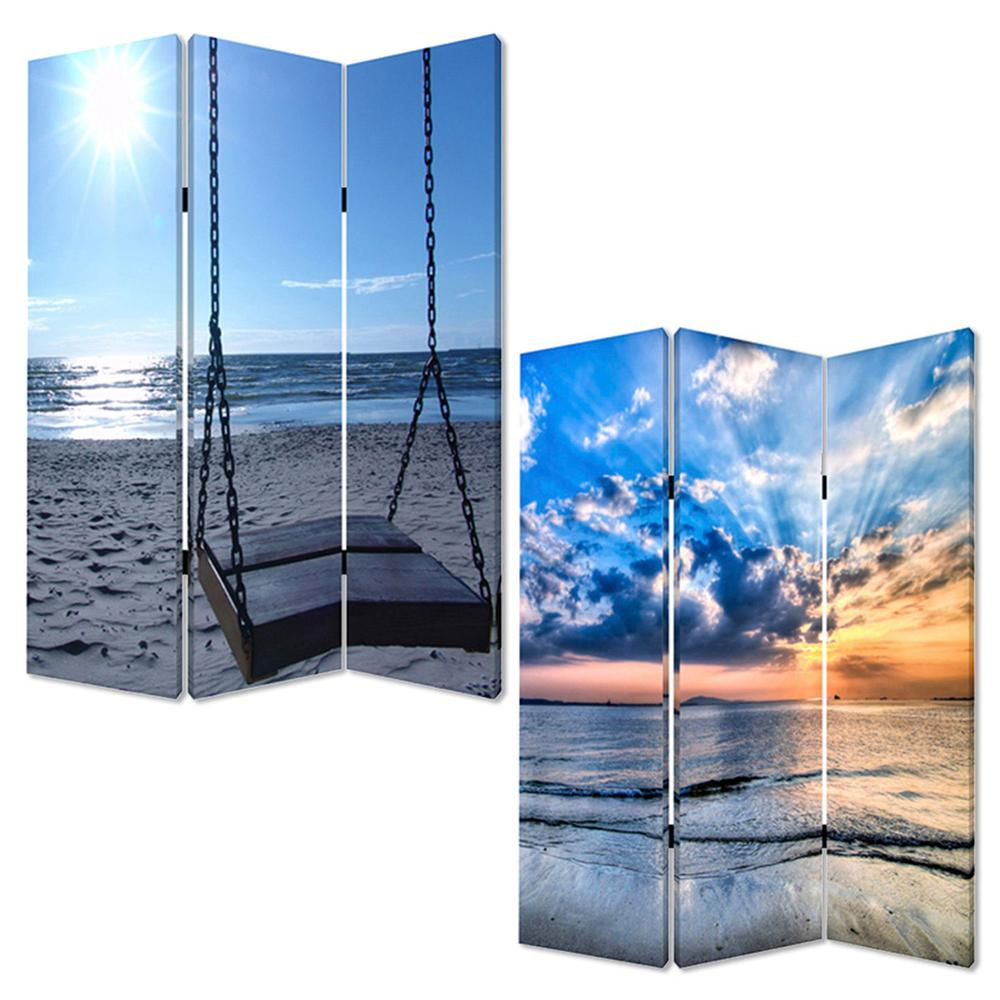 """1"""" x 48"""" x 72"""" Multi Color Wood Canvas Seaside Serenity  Screen - 274756. Picture 3"""