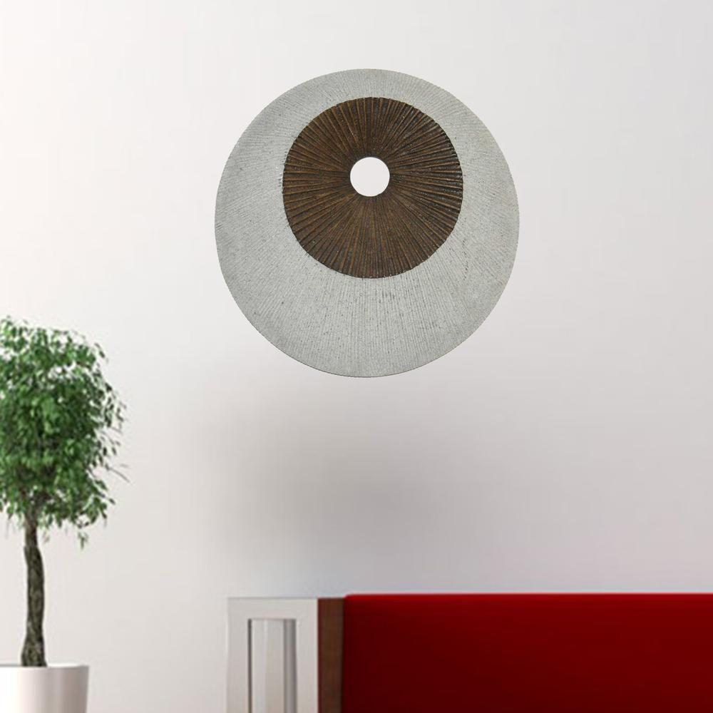"""1"""" x 19"""" x 19"""" Brown & Gray Round Double Layer Ribbed  Wall Decor - 274769. Picture 2"""