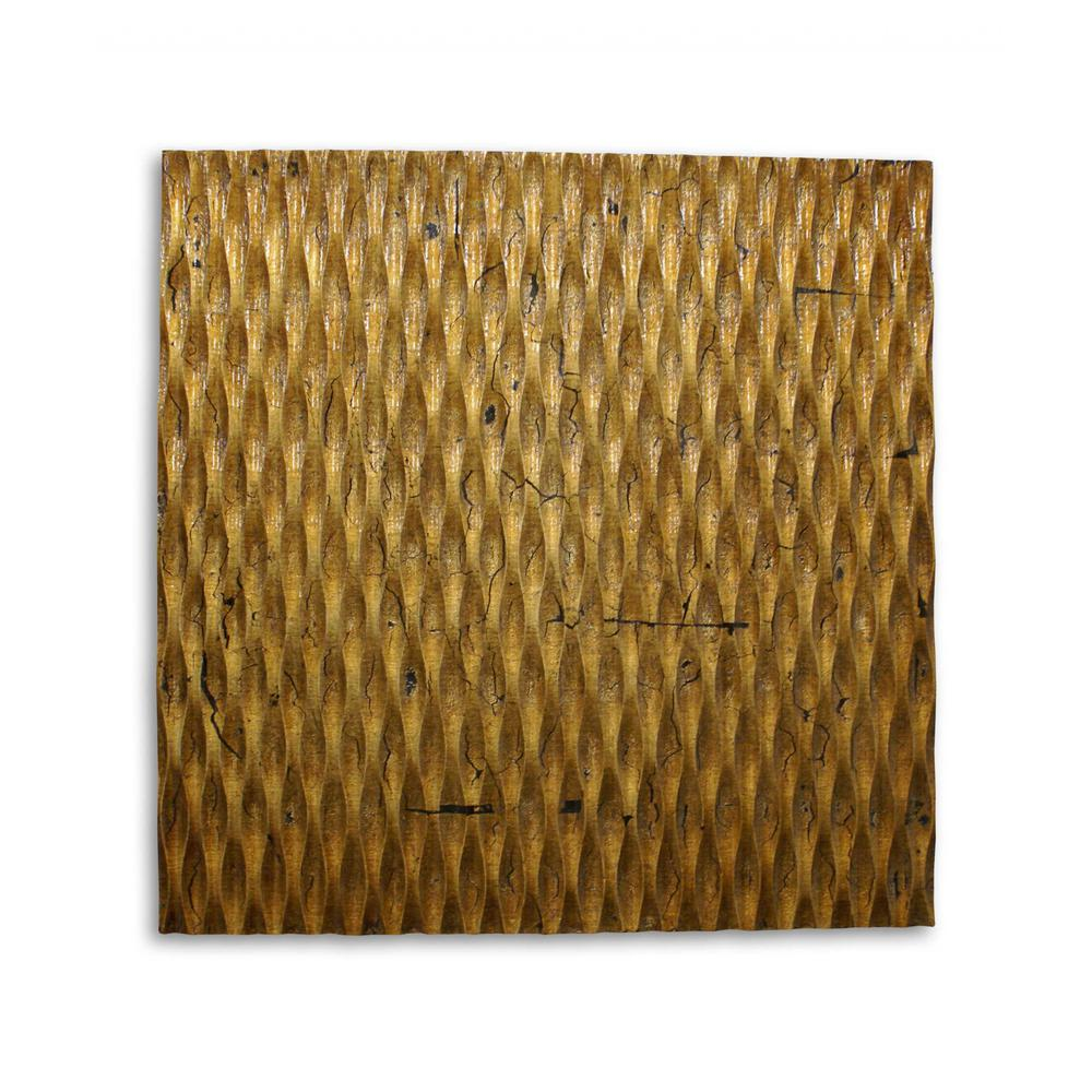 Raw Wood Look Gold Finish Square Wall Art - 274797. Picture 1