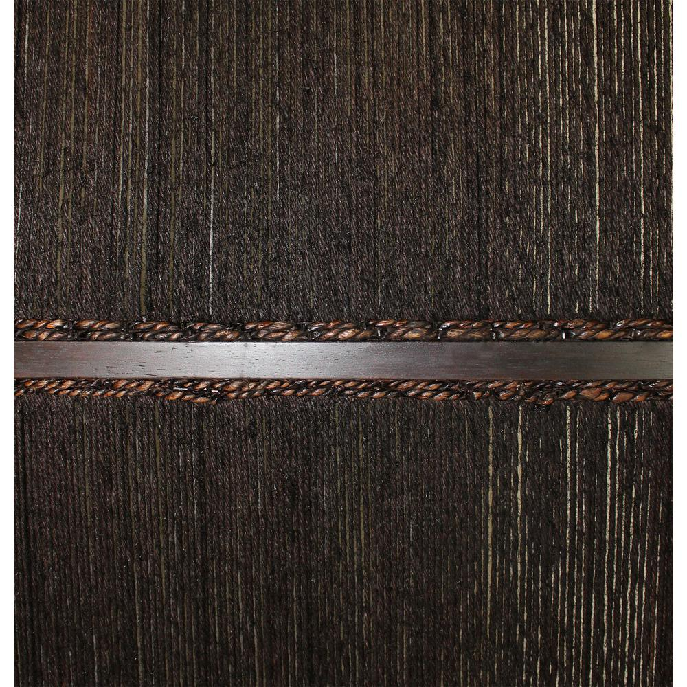 Dark Wood and Water Hyacinth 3 Panel Room Divider Screen - 274870. Picture 3
