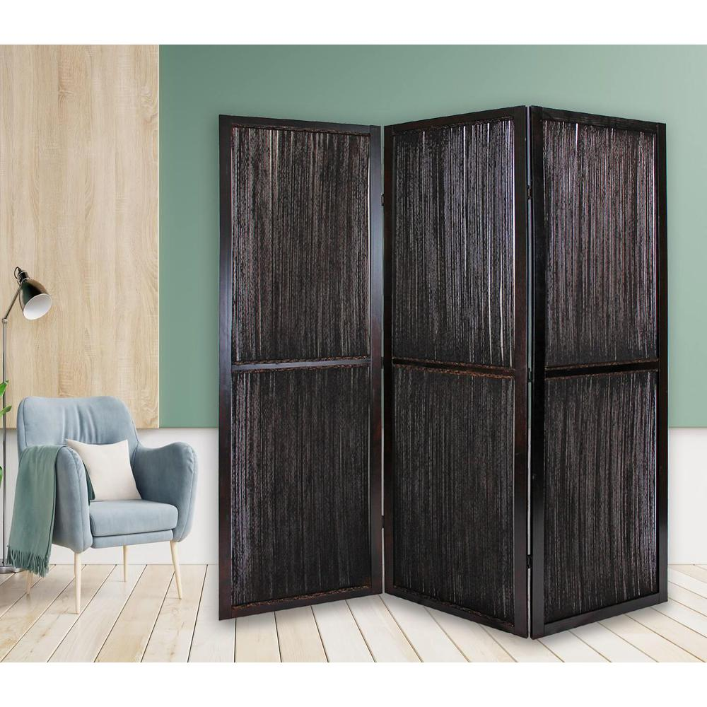 Dark Wood and Water Hyacinth 3 Panel Room Divider Screen - 274870. Picture 4
