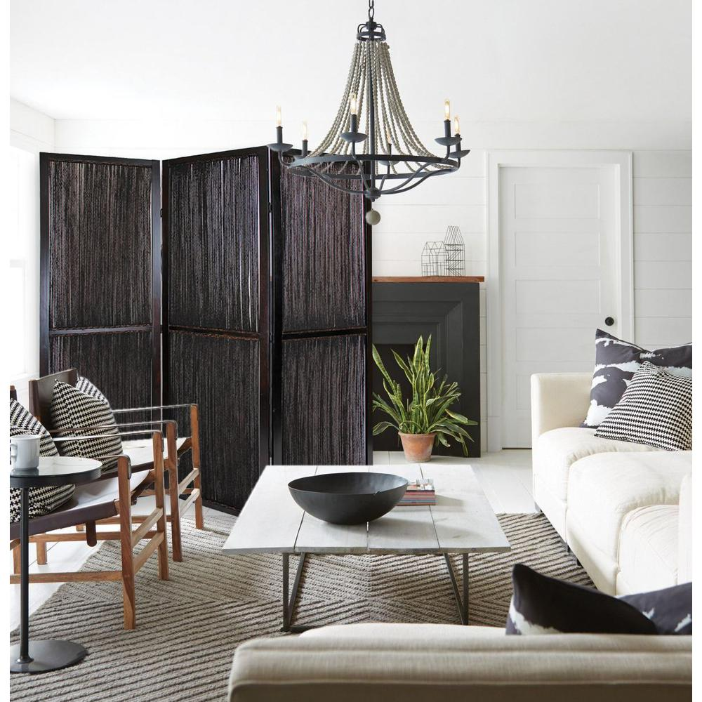 Dark Wood and Water Hyacinth 3 Panel Room Divider Screen - 274870. Picture 6