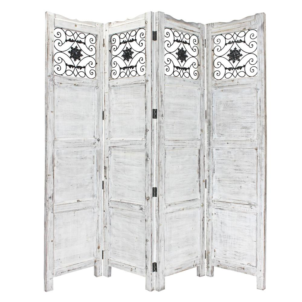 Gray Wash 4 Panel with Scroll Work Room Divider Screen - 274888. Picture 1