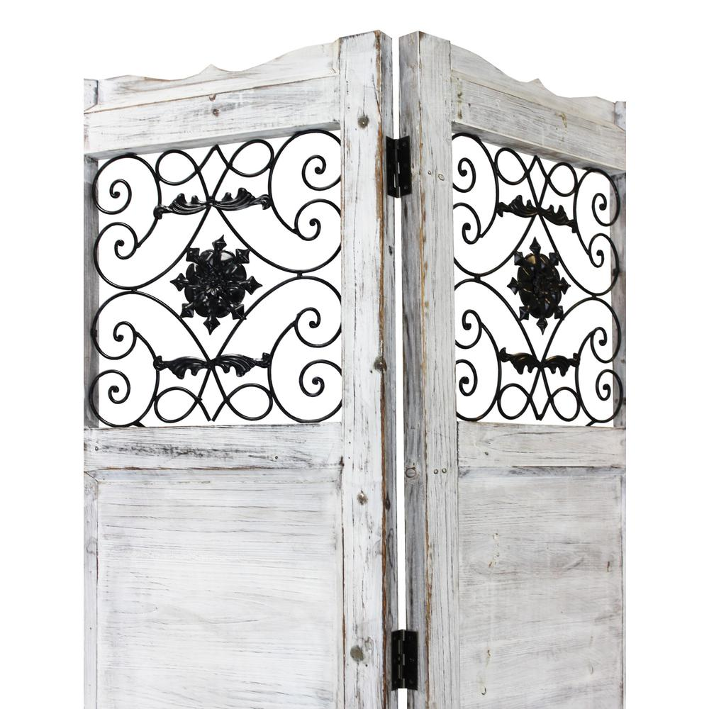Gray Wash 4 Panel with Scroll Work Room Divider Screen - 274888. Picture 2