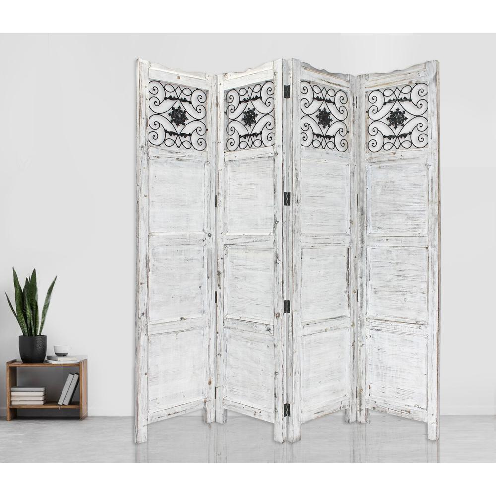 Gray Wash 4 Panel with Scroll Work Room Divider Screen - 274888. Picture 3