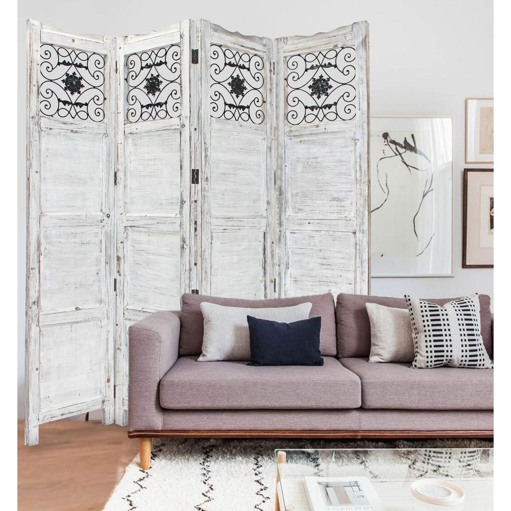 Gray Wash 4 Panel with Scroll Work Room Divider Screen - 274888. Picture 4