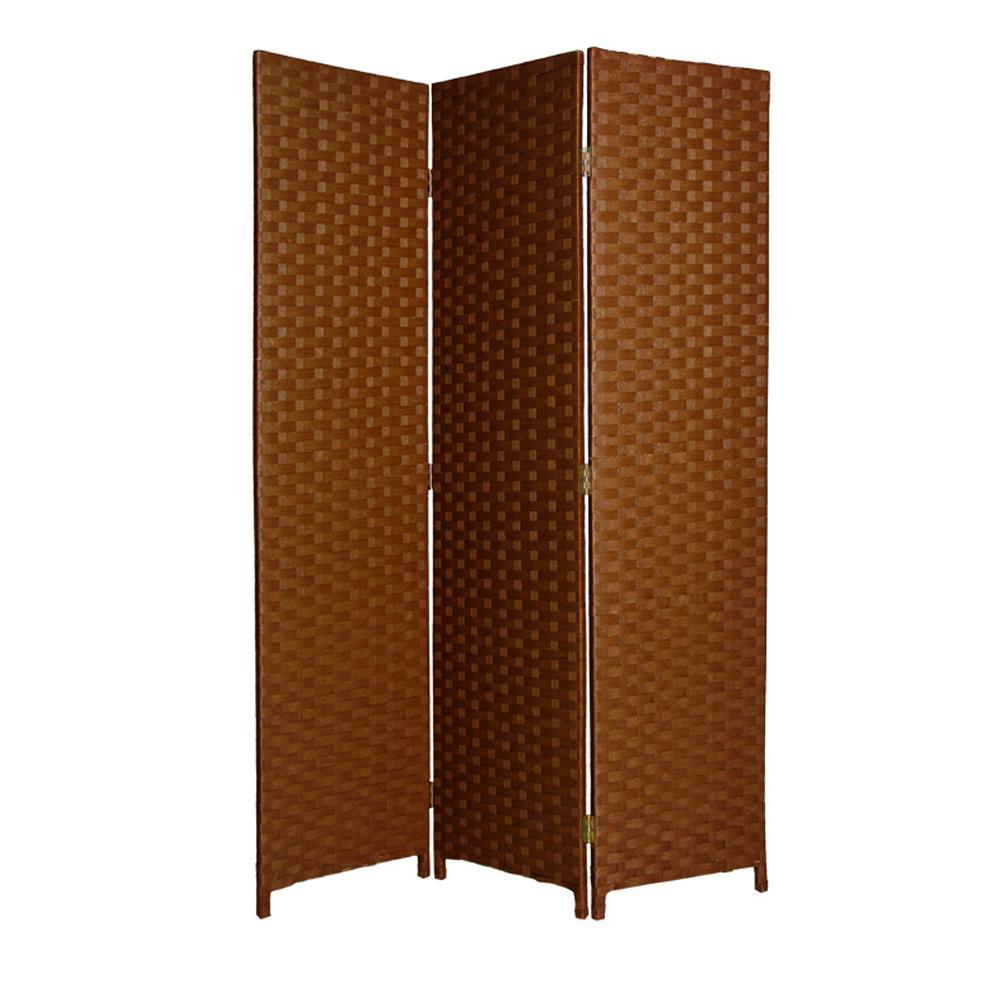 "1"" x 54"" x 72"" Dark Brown Wood  3 Panel Screen - 274891. Picture 1"