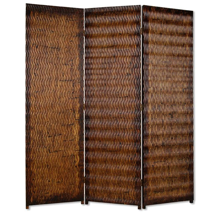 """1"""" x 63"""" x 72"""" Brown Wood 3 Panel  Screen - 274906. Picture 1"""