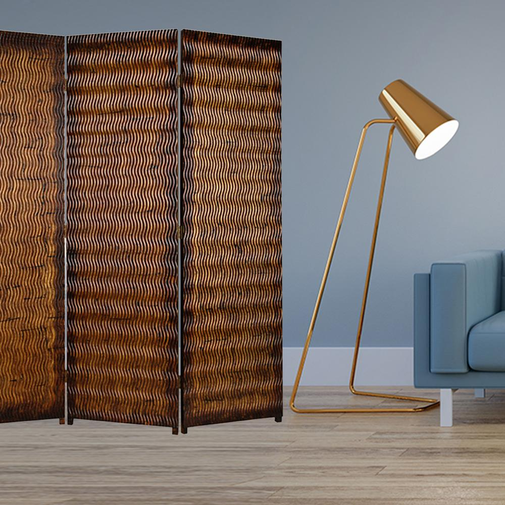 """1"""" x 63"""" x 72"""" Brown Wood 3 Panel  Screen - 274906. Picture 2"""