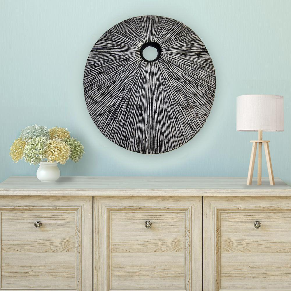 """20"""" Contemporary Grey Round Wall Art - 274915. Picture 3"""
