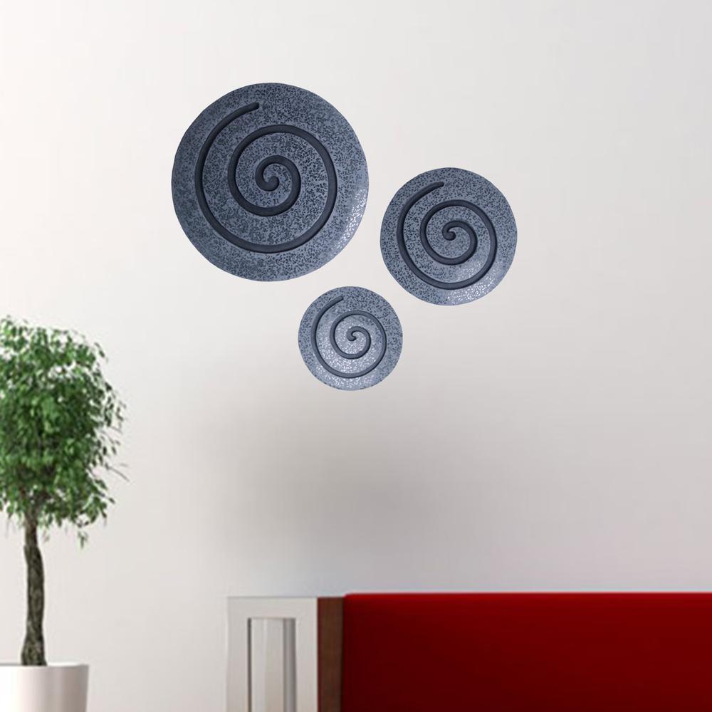 "14"" Gray Round Modern Spiral Wall Art - 274931. Picture 2"