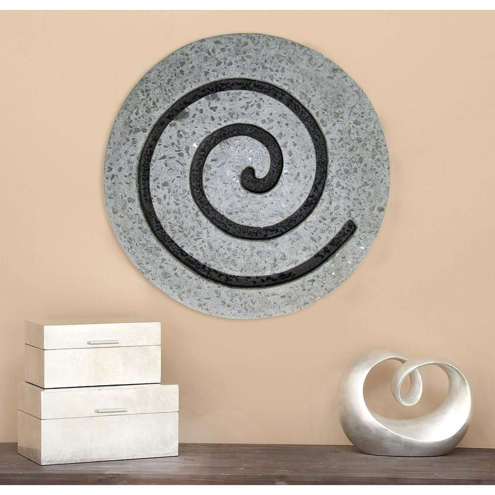 "19"" Gray Round Modern Spiral Wall Art - 274932. Picture 3"