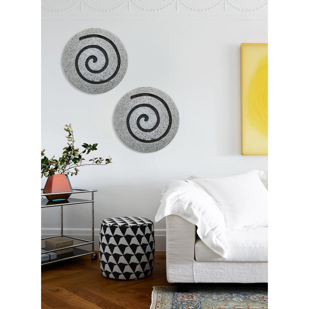 "19"" Gray Round Modern Spiral Wall Art - 274932. Picture 4"