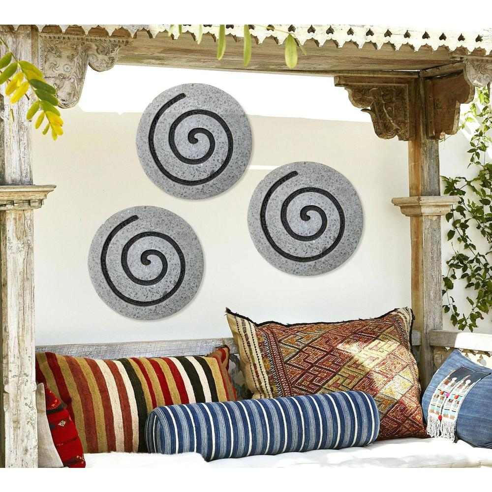 "19"" Gray Round Modern Spiral Wall Art - 274932. Picture 5"