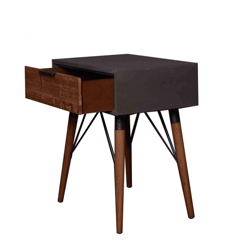 "14.2"" x 19.7"" x 23.6"" Gray Pastoral Loft Wooden  End Table - 277063. Picture 1"